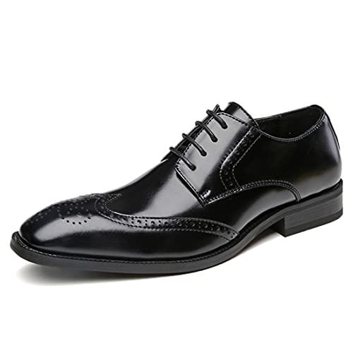 Sdmcdamzzy Herren Hochzeitsschuhe Flügelspitze Schnürschuhe formelle Kleid Schuhe Brogue Derbys, schwarz, EU44 thumbnail