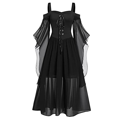 BIBOKAOKE Vestido medieval para mujer, de malla, gótico, maxivestido, vestido de noche, con cordones, mangas con hombros descubiertos, para cosplay, fiestas, Halloween