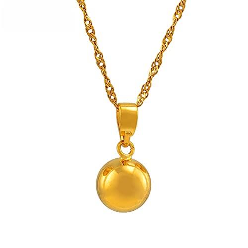 Kkoqmw Collares con Colgante de Bola de Color Dorado para Mujeres, niñas, Collares de Cuentas Redondas, joyería para niñas