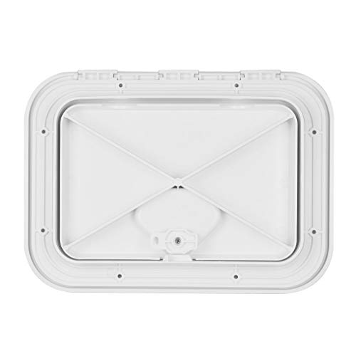 perfk 14-3/4 x 10-1/4 inch Deck Plate Waterproof Inspection Access Hatch Cover Lid Screw Type for Kayak Boat Fishing Rigging, White