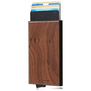 GLOXXON クレジットカードケース スキミング防止 スライド式 ステップ型 木目 磁気防止 自然木材 軽量 メンズ レディース (ウォルナット)