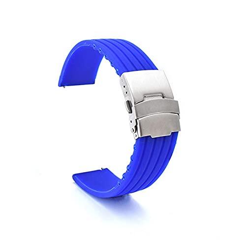 FETTR Correa de silicona de 18 mm, 20 mm, 22 mm, 24 mm, 42/46 mm, impermeable, color azul, tamaño: 18 mm