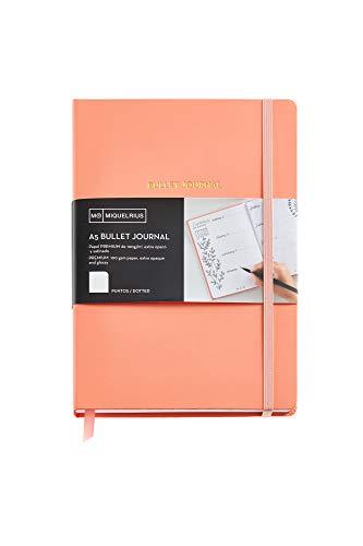 Miquelrius - Cuaderno de Notas, Cubierta Rígida de Papel Vinílico, Tamaño A5 148 x 210 mm, 192 Páginas Punteadas Dots de 100 g/m², color Melocotón