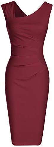 MUXXN Audrey Hepburn 1930s Cut Out Collar Slim Pencil Working Office Dress for Women Merlot product image