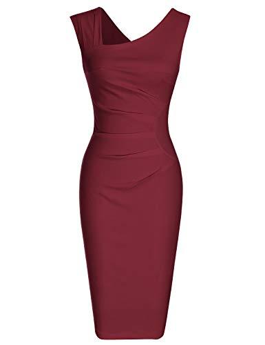 MUXXN Womens Ruched Sleeveless Below The Knee Vintage Style Bridesmaid Dress (Merlot L)