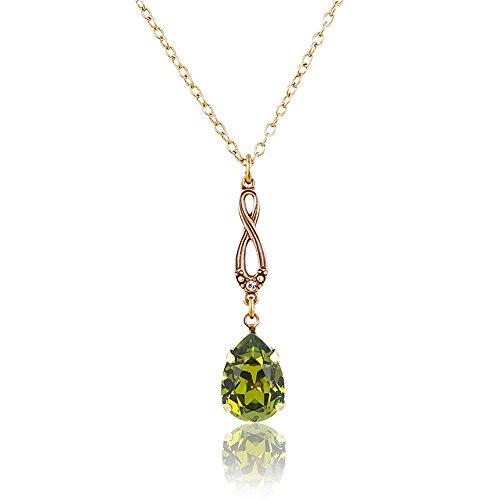 nobel-schmuck Jugendstil Kette mit Kristalle von Swarovski® Grün Gold