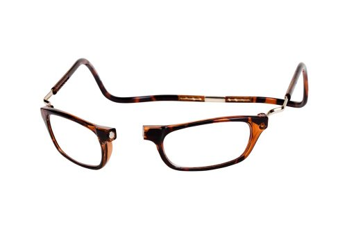CliC Magnetic Closure Reading Glasses XXL with Adjustable Headband Tortoise 1.50