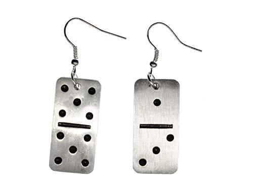 Domino pendientes Miniblings suspension juegan al domino aluminio plateado