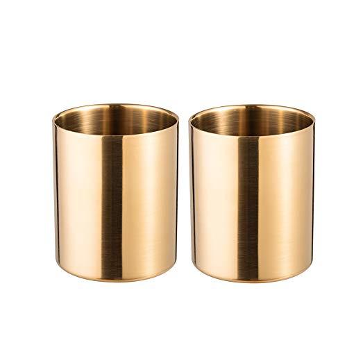 IMEEA Edelstahl Stifthalter Make-Up Pinsel Halter Schreibtisch Schreibwaren Organizer Gold(2 Stück)