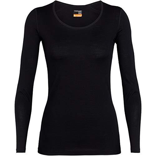 icebreaker Damen Funktionsshirt 200 Oasis LS Scoop, Black, M, 104378001M
