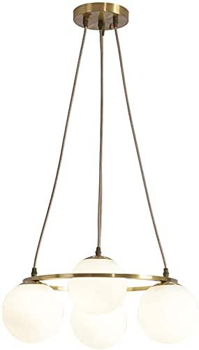 ZNMY Araña de Anillo Simple 4 Luces, iluminación Colgante de Arte Elegante, lámpara de Techo Decorativa con Pantalla de Vidrio de Globo, Accesorio Colgante Lineal para