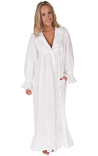 The 1 for U 100% Cotton Nightgown/Robe with Pockets - Amelia- XXS - XXXL (Large) White