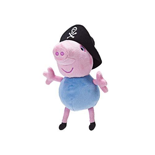 Jazwares 96576 – Peluche de Peppa Pig como Pirata con Sonido, Peluche Suave de Aprox. 15 cm de Alto, para Dormir y Jugar, Original Peppa Pig para niños a Partir de 18 Meses