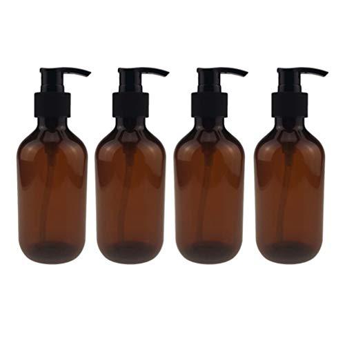 TOPBATHY Dispensador de 4 Piezas Botellas Vacías Desinfectante de Manos Botellas de Bomba Gel de Ducha Botellas Contenedores Champú Recargable Botellas de Líquido 300 Ml (Marrón)