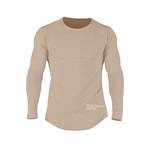 Camiseta de Manga Larga elástica de algodón para Ejercicio Deportivo y de Ocio para Hombre