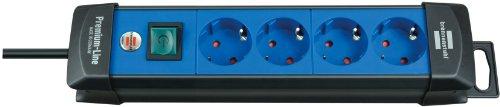 Brennenstuhl Premium-Line Stekkerdoos, 10-voudig (stekkerdoos met schakelaar- 45° hoek van de geaarde stekkerdozen) 4-voudig blauw