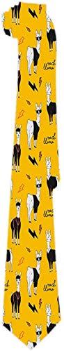 Corbata para Hombre Rock Llama Cartoon Alpaca in Rock Corbatas Clásicas Corbatas de Regalo Únicas Jacquard Tejidas para Negocios Fiesta de Bodas