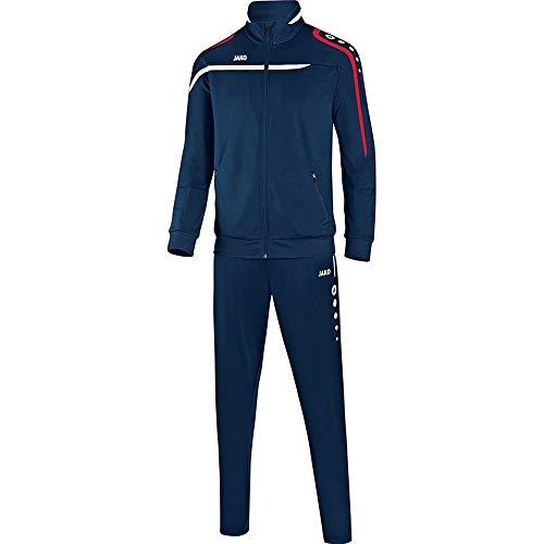 JAKO Fußball Trainingsanzug Performance Kinder Sportanzug Jacke Hose Marine weiß rot Gr 152