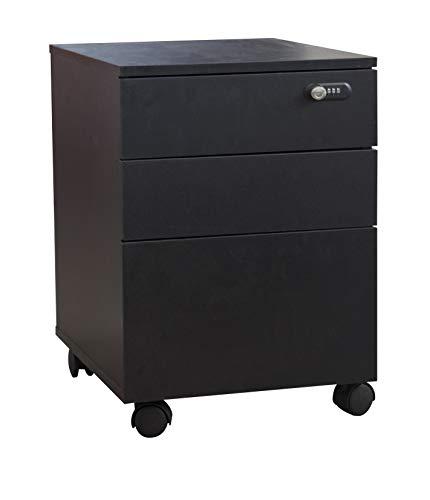 Cassettiera da Ufficio Armadio di archiviazione Armadio per ufficio in legno con serratura, 3 cassetti su ruote, mobile ufficio sotto la scrivania (nero)