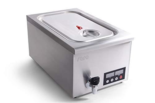 Saro Sous-Vide Garer Modell SALERNO Vakuumgarer Dampfgarer (Einstellbare Zeit-/ Temperaturstufen, Umwälzpumpe, Ablasshahn, Trenngitter, universell steckbares Gestell, 11-22l, digitales Display) silber