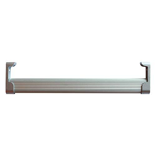 System Holz s.r.l. Kit Asta Appendiabiti in Alluminio per Armadio: 2 Aste Sezione Ovale Lunghezza 1 metro da Tagliare a Misura, supporti e viti per il fissaggio. Made in Italy, Grigio