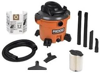 RIDGID12-Gal. 5.0 Peak HP Wet/Dry Vac with Bonus Dust Bag and Crevice Tool