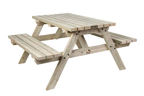 MC TIMBER PRODUCTS LTD 5FT PICNIC TABLE - COMMERCIAL STYLE & QUALITY - HEAVY DUTY - NATURAL COLOUR WOOD - GARDEN FURNITUTRE