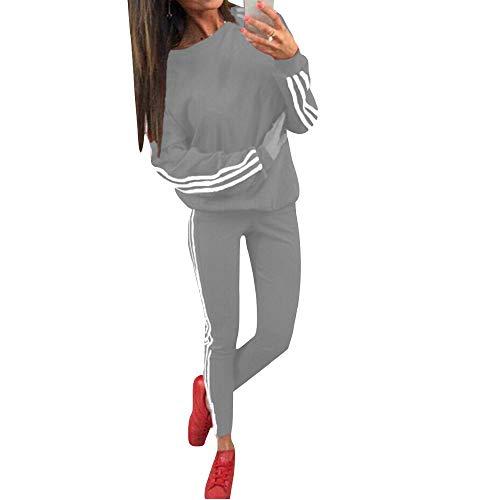 Tidecc Trainingsanzug für Damen, lange Ärmel, seitlich gestreift, für Sport, Joggen, Fitnessstudio, Workout, Outfit, Playsuit, 4 Farben Gr. 36-38, hellgrau
