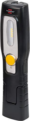 Brennenstuhl LED Akku Handleuchte HL 200 A / LED Werkstattlampe mit Akku (250 + 70lm, bis zu 6h Leuchtdauer, knickbarer Haltefuß, handliche Arbeitsleuchte mit Magnet und Haken)