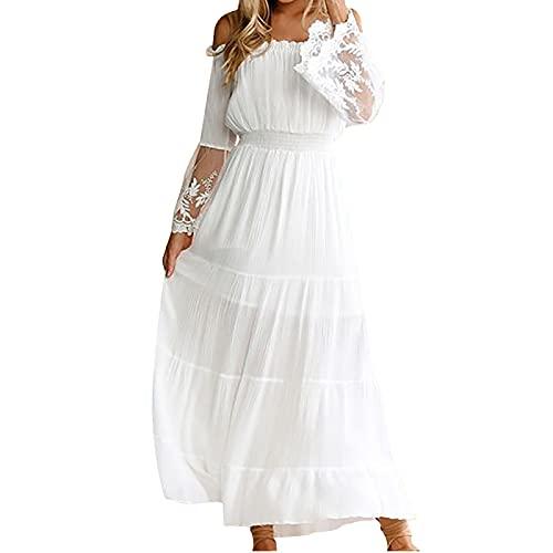 Abito da donna estivo, con maniche lunghe, stile A-line, bianco, L