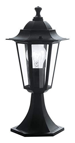 EGLO Außen-Sockellampe Laterna 4, 1 flammige Außenleuchte, Sockelleuchte aus Aluguss und Glas, Farbe: Schwarz, Fassung: E27, IP44