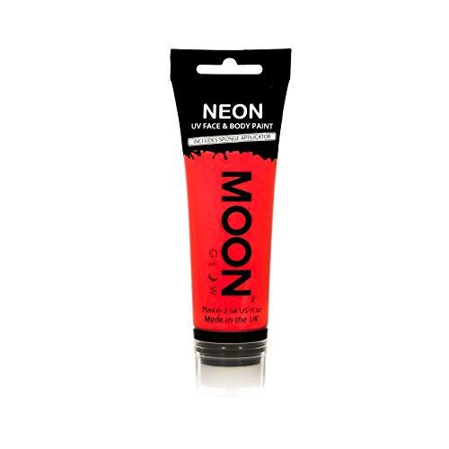 Moon Glow Große 75ml Intensiv Rot UV-Bodypaint Körpermalfarben Schwarzlicht fluoreszierende Schminke Bodypainting Neon Farben Leuchtfarbenmit Schwammapplikator