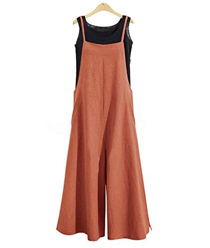YESNO Women Casual Loose Boyfriend Bib Pants Summer Wide Leg Cotton Jumpsuits Rompers with Pockets XS-5X (L PZZTYP2 Rust)