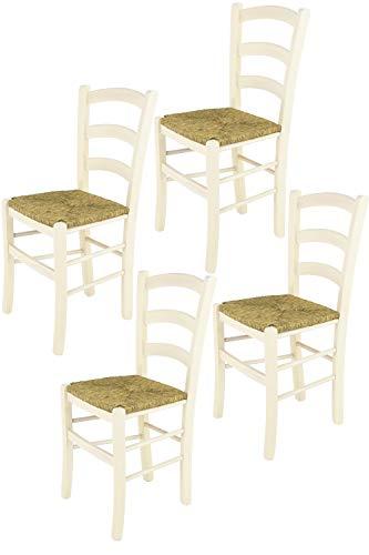 t m c s Tommychairs - Set 4 sillas Venice para Cocina y Comedor, Estructura en Madera de Haya Color anilina Blanca y Asiento en Paja