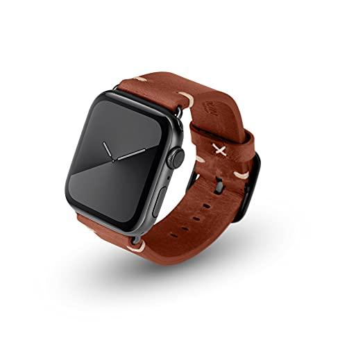 JT Berlin Alex Vintage - Cinturino in pelle morbida per Apple Watch 42 mm/44 mm [Watch SE, Series 6 / 5 / 4 / 3 / 2 / 1, chiusura in acciaio inox] marrone/nero (taglia M/L)