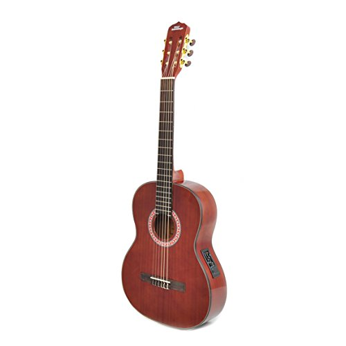 Left-Handed Classical Acoustic Electric Guitar - 39.5' 6String Classical Mahogany Deep Cherry Polished w/ Built-in Preamplifier, Case Bag, Nylon Strap, Tuner, Picks, Great for Beginner - Pyle PGA33LBR