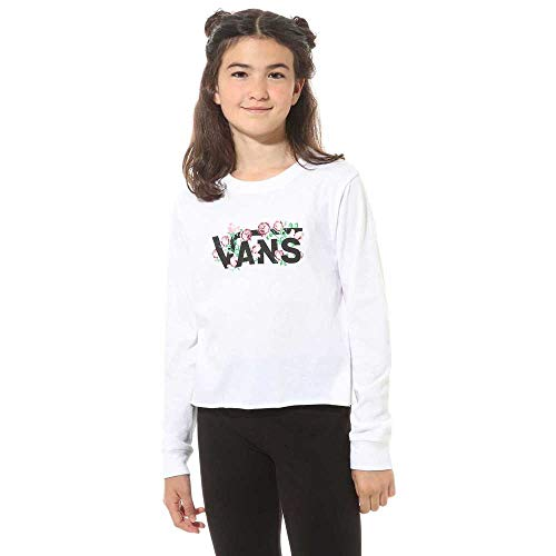 Vans Rose V Maglia a Maniche Lunghe, Bianco (White Wht), Medium Bambina