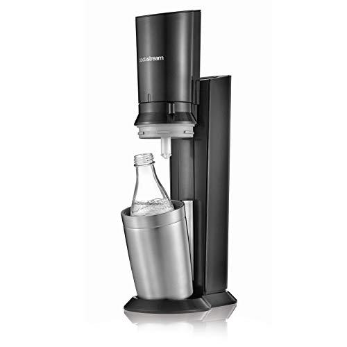 SodaStream CRYSTAL 2.0 Glaskaraffen Wassersprudler zum Sprudeln von Leitungswasser, mit spülmaschinenfester Glasflasche für Sprudelwasser. inkl. 1 Zylinder und 2 Glaskaraffen 0,6l; Farbe: Titan/Silber - 3