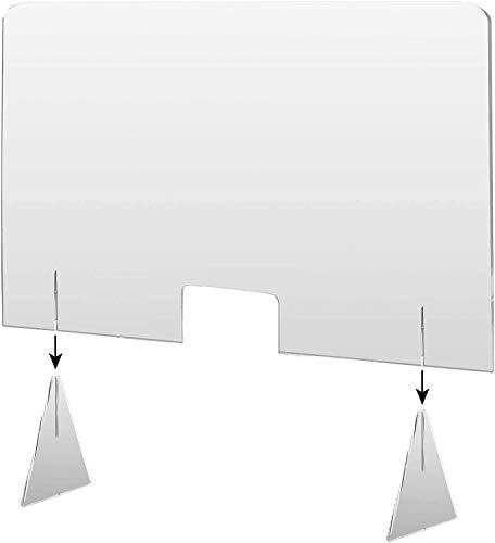 Mampara de Metacrilato mostrador 4mm Protección para oficinas Mostradores Manicura Sobremesa Material Transparente (70x50)