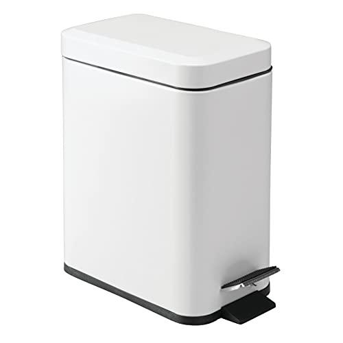 mDesign 1.3 Gallon Rectangular Slim Profile Metal Step Trash Can Wastebasket, Garbage Container Bin, Bathroom, Powder Room, Bedroom, Kitchen, Craft Room, Office - Removable Liner Bucket - Matte White