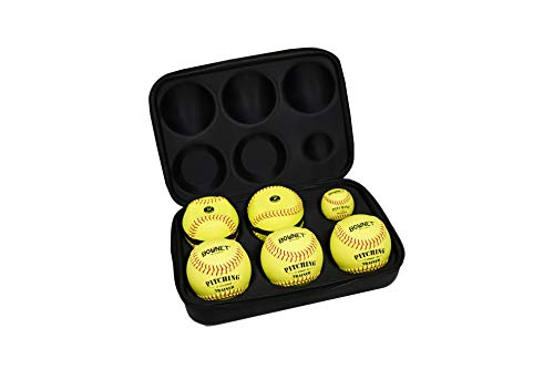 Bownet Pitch Molded Kit Case - Include 6 Genuine Leather Practice Softball Balls - Ultimate Pitchers Training Ball Kit - Slow Pitch and Fastpitch Training Aid, Black