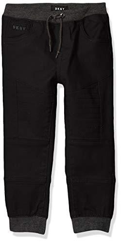 DKNY Boys' Big Twill Jogger Pant, Caviar, 8