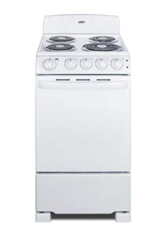 """Summit Appliance RE203W 20"""" Wide Electric Coil Range in White Finish with Coil Burners, Backsplash, Indicator Lights, Push-to-Turn Knobs, Chrome Drip Pans, Safety Brake System for Oven Racks"""