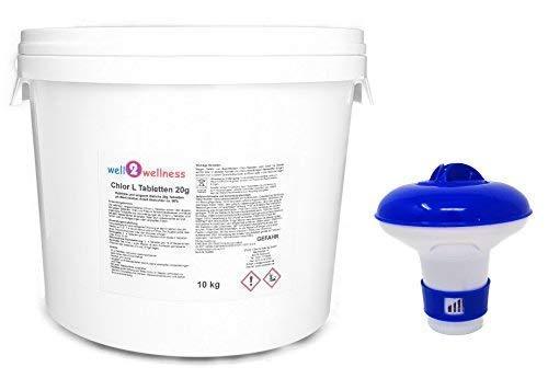 Well2wellness CHLORINE tabletten 20 G - Mini Chloortabletten langzaam Oplosbaar een 20 G met 90% actief CL-gehalte, 10 kg (2 x 5kg) plus dispenser