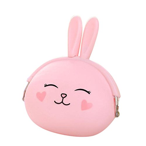 Vi.yo mignon lapin en forme de pièce poche pour Lady Girls enfants fait avec Silicone pur changement de couleur porte-monnaie porte-monnaie clé poche