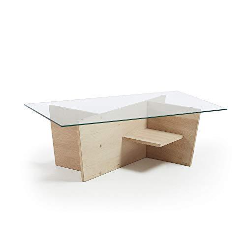Kave Home - Mesa de Centro Balwind Rectangular 110 x 60 cm de Cristal y Estructura de Madera Maciza de Roble