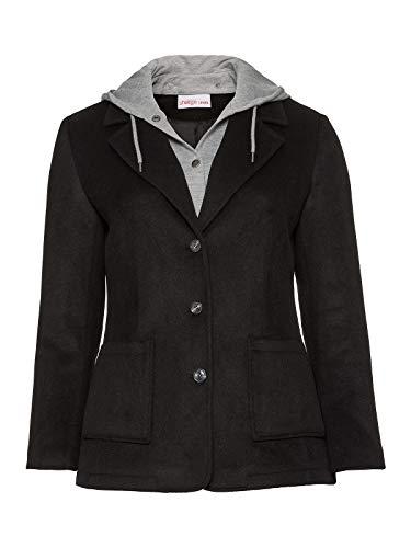 Sheego Jacke Kurzmantel Blazer Hoody Kapuzenjacke Wolle Damen Plusgröße, Farbe:schwarz, Damengrößen:46