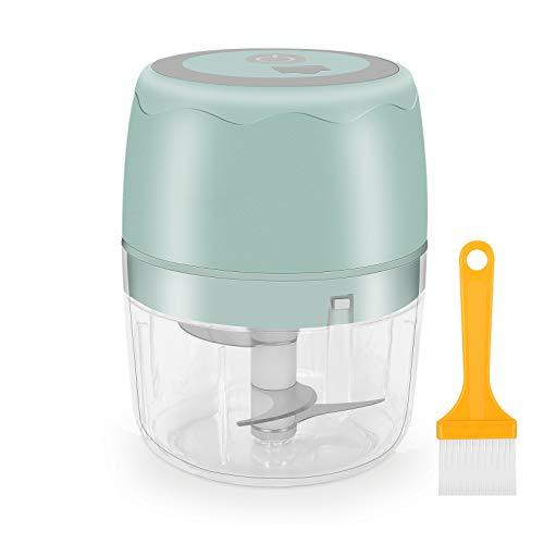 moleath Electric Mini Food Chopper, 400ML Wireless Portable Garlic Grinder, Multifunctional Food Slicer Processor for Cutting Garlic, Fruits, Vegetables, Nuts, Meat, Baby Food
