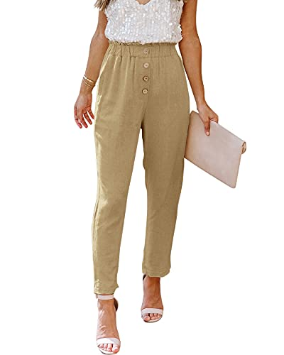 NIMIN High Waisted Pants for Women Comfy Cotton Linen Pants Paperbag Pants Dress Pants Teacher Pants Summer Beach Pants Khaki Medium