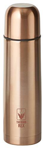 Thermo Rex Isolierflasche Rosegold 750ml | Thermokanne mit Becher | Druckknopf-System | Isolierkanne Edelstahl | Ideal für unterwegs | Thermoflasche BPA frei